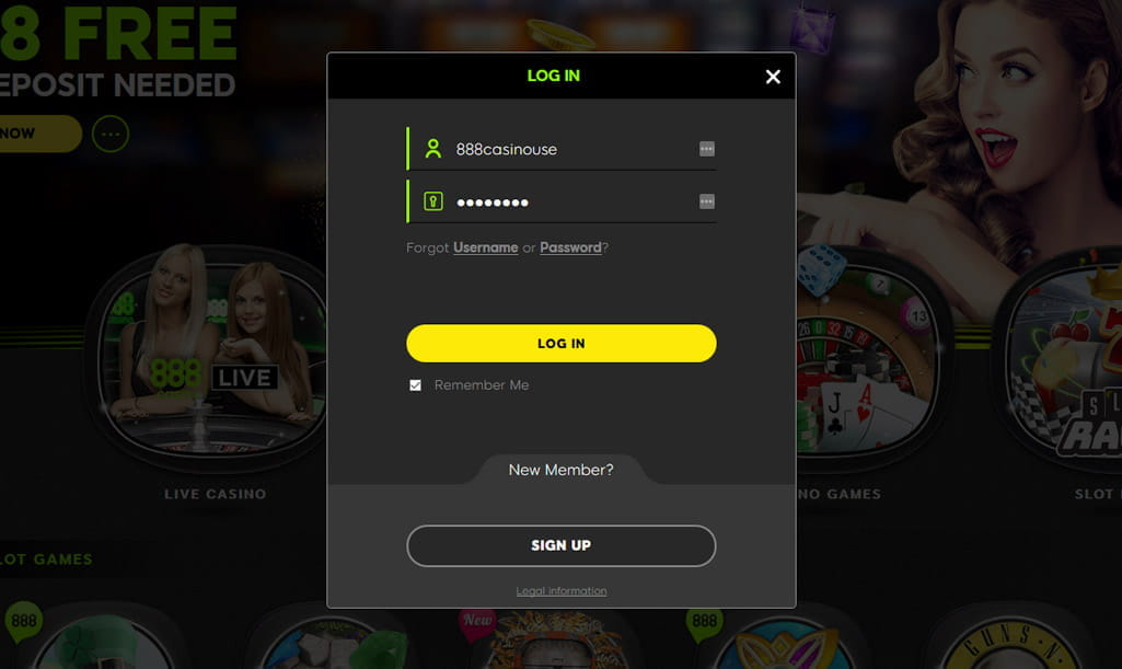 login to 888 casino